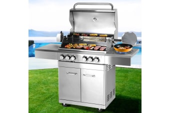 Outdoor Kitchen BBQ Gas Grill Stainless Steel Barbeque 6 Burner