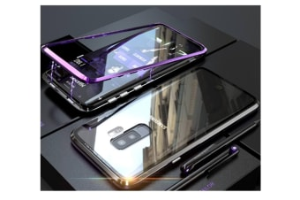 Magnetic Adsorption Phone Case Metal Back Glass Cover For Samsung Galaxy Purple Samsung S8