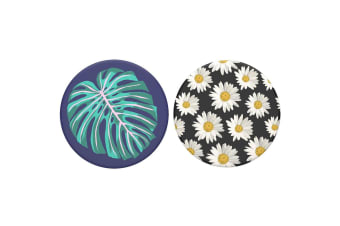 2pc PopSockets Daisies/Vintage Palm Leaf Swappable Top f/Pop Socket Base Grip