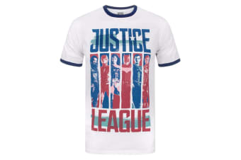 Justice League Mens Character Strips Ringer T-Shirt (White)