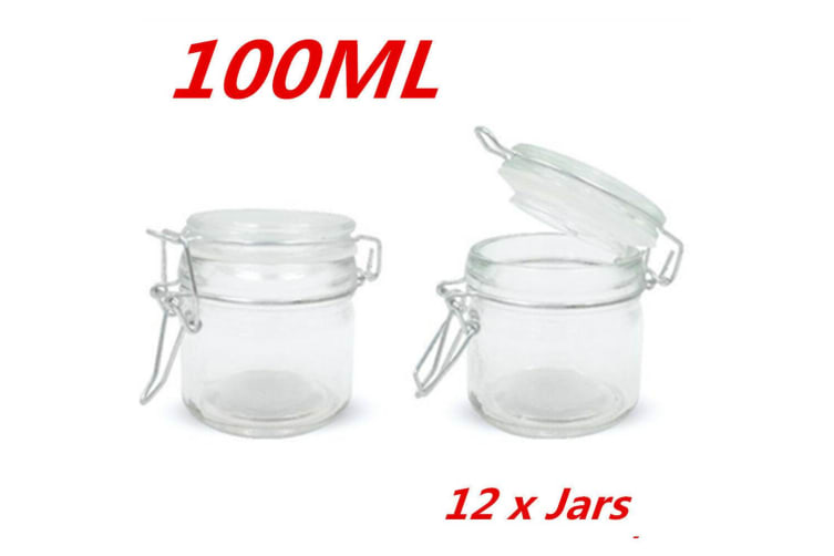 12 x 100ml Small Spice Glass Jars Clip Lid Bottle Jam Storage Container Jar Clip Lock
