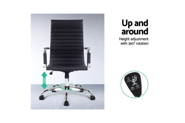 Artiss Eames Replica Office Chair Leather Executive Computer Chairs Seat Black