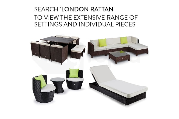 LONDON RATTAN 4pc Outdoor Furniture Setting Lounge Wicker Sofa Set Patio Black