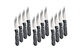 Maverick 12pc Steak Knife Set Serrated Stainless Steel Dining Cutlery Knives