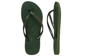 Havaianas Slim Logo Metallic Thongs (Green Olive)