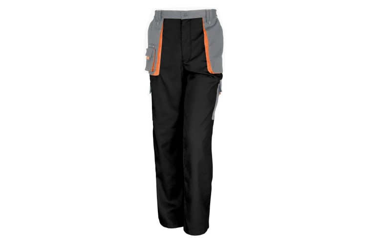Result Unisex Work-Guard Lite Workwear Trousers (Breathable And Windproof) (Black / Grey / Orange) (XS)
