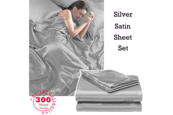 300TC Deluxe Essentials Satin Sheet Set Silver King by Big Sleep