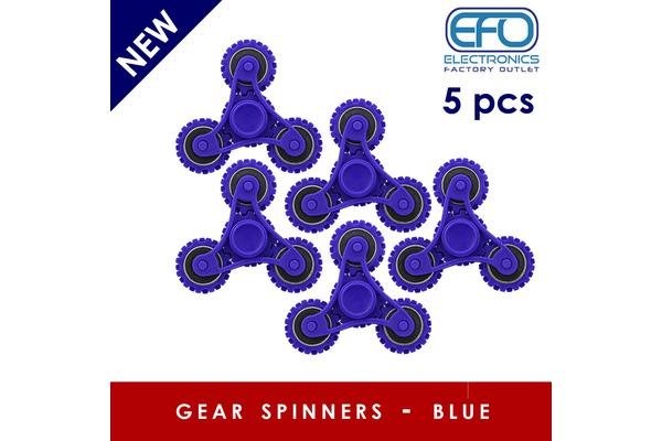 5Pc 5X 3D Hand Spinner Fidget Toy Gear Style Stress Reliever Fast Bearing Spin Blue