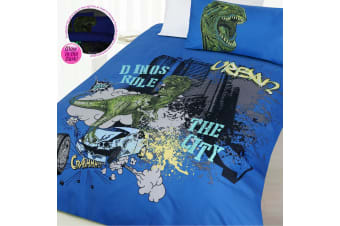 Glow In the Dark Dino City Quilt Cover Set Double by Happy Kids