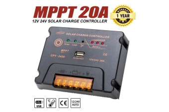 ATEM POWER 20A MPPT Solar Charge Controller PV Solar Panel Battery Regulator 12V/24V W/ USB