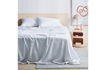 Canningvale 1000TC Sheet Set - Double Bed - Palazzo Linea  Crisp White with French Grey Stripe