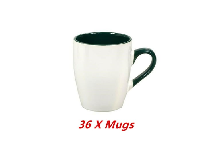 36 x Ceramic Calypso White Green Mug Coffee Mugs Drinking Tea Cup Tumbler Event Party