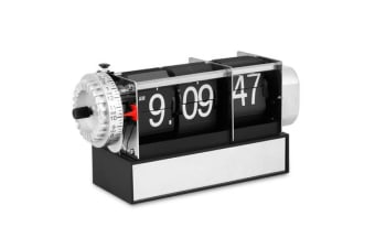 Retro Style Desk Flip Clock Analog Dial Chrome Mirror Stand Battery Power