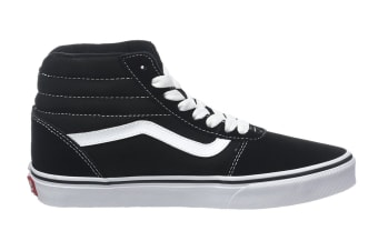 Vans Men's Ward Hi Suede Canvas Shoe (Black/True White, Size 10.5 US)