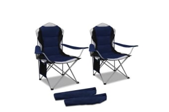 Set of 2 High Back Folding Camping Arm Chair (Navy)