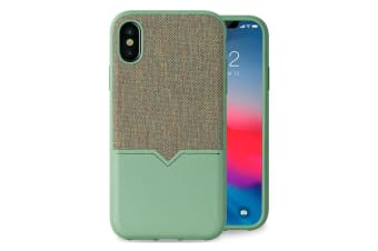 Evutec Northill Drop Proof Fabric/Leather Case For Apple iPhone X/XS w/Mount GRN