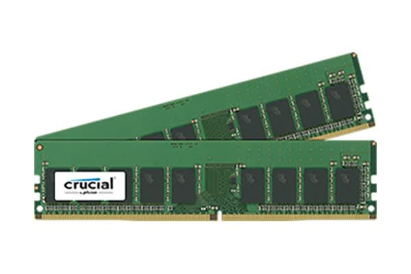 Crucial 16GB Kit (8GBx2) DDR4  2400 MT/s (PC4-19200) CL17 SR x8 ECC Unbuffered DIMM 288pin