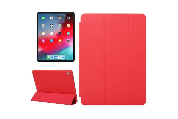For iPad Pro 12.9 Inch (2018) Case Solid Color PU Leather Folio Cover Red