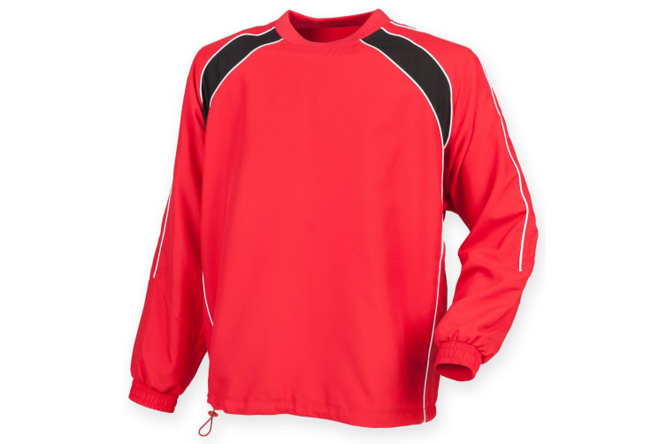 Finden & Hales Mens Long Sleeve Sports Warm-up Drill Top (Red/ Black/ White) (M)