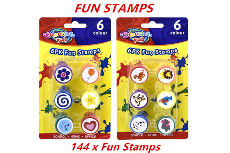 144 x Fun Stamps Set Stationery Kids Gift Party Toy Art Craft Animal Flower Heart Star