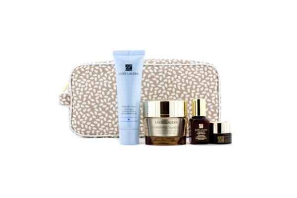 Estee Lauder Global Anti-Aging Essentials Set: Anti-Aging Creme 50ml + Foaming Cleanser 50ml + Recovery Complex 15ml + Eye Complex 5ml + Bag (4pcs+1bag)