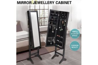 Mirror Jewellery Cabinet Makeup Storage BLACK