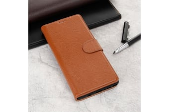 For Samsung Galaxy NOTE 9 Case Fashion Brown Cowhide Genuine Leather Slim Wallet