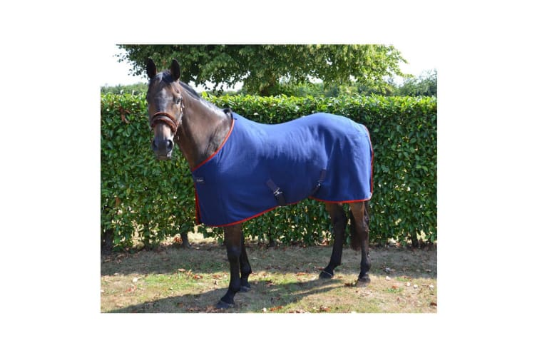 Hy Signature Fleece Rug (Navy/Red) (4 ft 9)