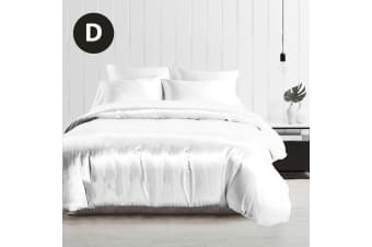 Double Size Silky Feel Quilt Cover Set-White