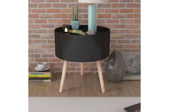 vidaXL Side Table with Serving Tray Round 39.5x44.5 cm Black