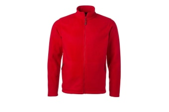 James and Nicholson Mens Fleece Jacket (Red) (L)