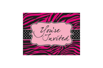 Creative Converting Pink Zebra Boutique Invitation Cards (Pack of 8) (Pink)