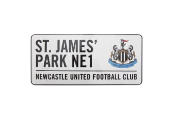 Newcastle United FC Official St James Park Metal Football Stadium Street Sign (White) (40cm x 18cm)