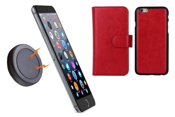 TODO Magnetic Quick Snap Car Mount Leather Credit Card Case Holder Iphone 6 - Red