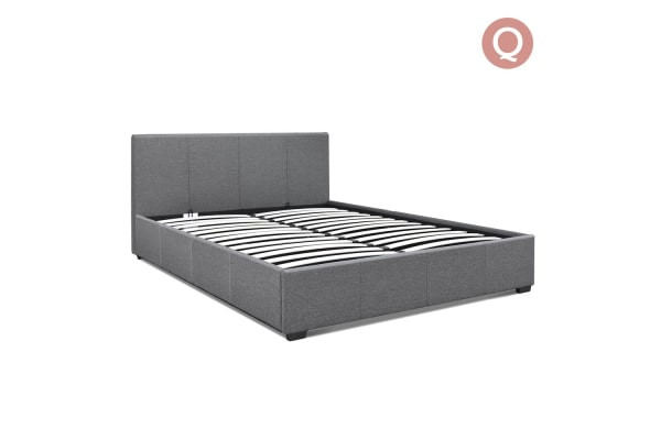 Queen Gas Lift Fabric Bed Frame (Grey)
