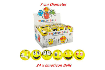 24 x Yellow Emoji Ball Emoticon 7cm PU Balls Soft Stress Party Loot Bag Gift Kids Toy