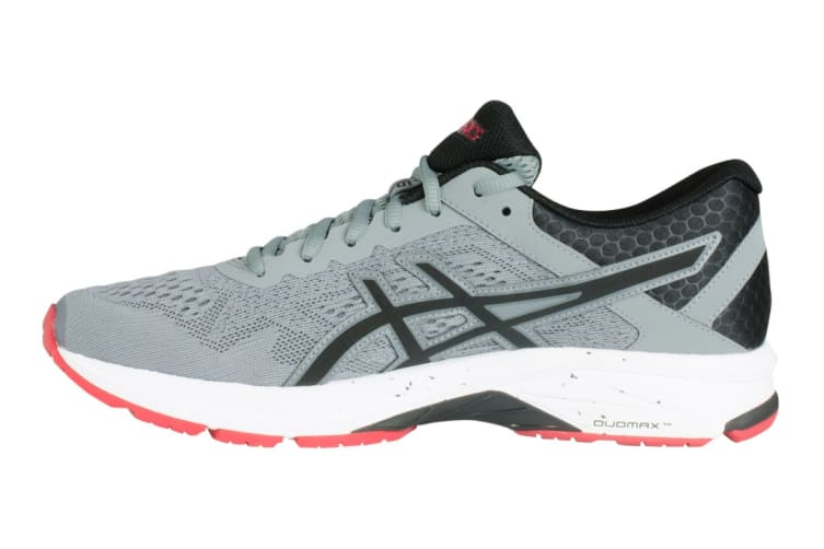 ASICS Men's GT-1000 6 Running Shoe (Stone Grey/Black/Red, Size 8)