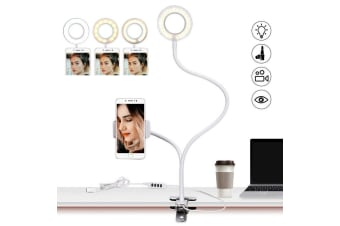 AU Clamp-on LED Selfie Ring Light With Cell Phone Holder Adjustable Light-White