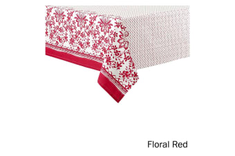 Watercolour Floral Tablecloth 8 to 10 Seater Oblong 150 x 265 cm Red