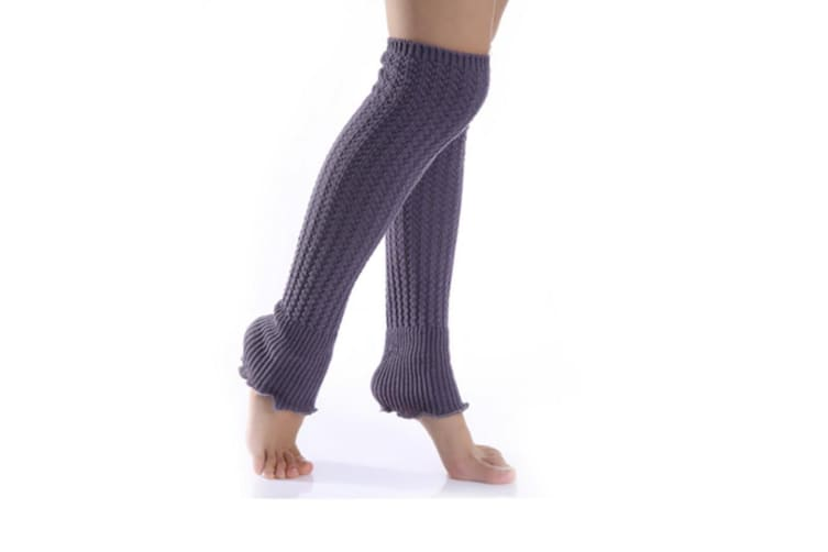 Winter Fluffy Warm Thick Cable Knit Long Leg Boot Socks Soft Leggings For Women Gray