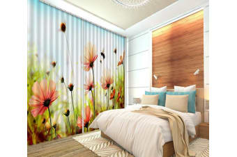 3D Flowers And Bee 284 Curtains Drapes, 320cmx270cm(WxH) 126''x 106''