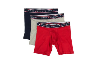 Tommy Hilfiger Men's Cotton Stretch Boxers - 3 Pack (Mahogany, Size L)