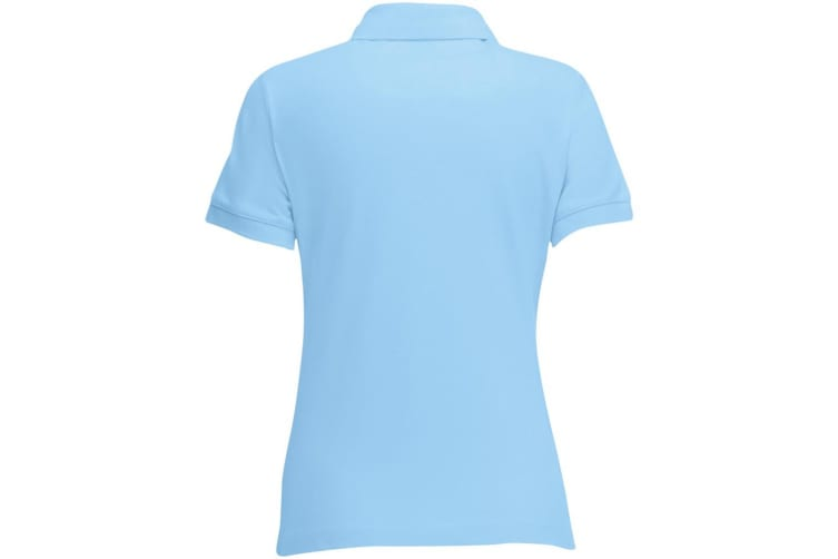 Fruit Of The Loom Womens Lady-Fit 65/35 Short Sleeve Polo Shirt (Sky Blue) (XL)
