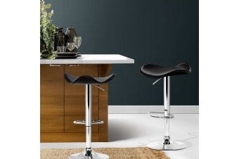 Artiss 2x Kitchen Bar Stools Swivel Bar Stool Leather Gas Lift Chair Black