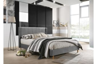 Double Designer Wingback Upholstered Fabric Bed Frame - Grey