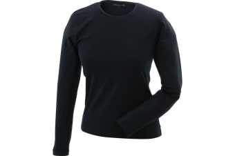 James and Nicholson Womens Long-Sleeved Tangy Tee (Navy) (M)
