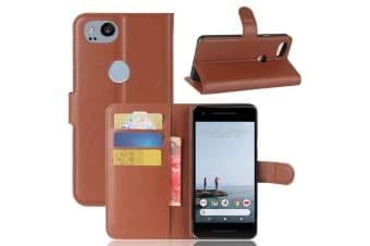 For Google Pixel 2 Wallet Case  Lychee Durable Protective Leather Cover Brown
