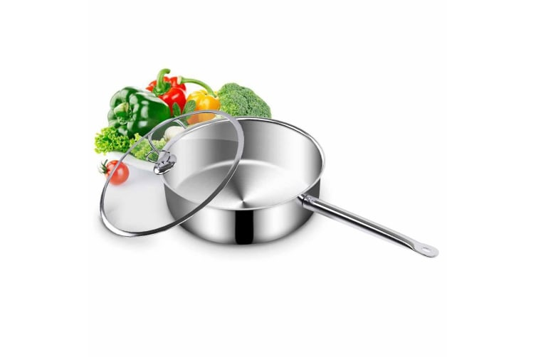 SOGA Stainless Steel 28cm Saucepan With Lid Induction Cookware Triple Ply Base
