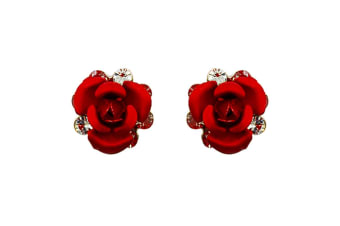 Red Roses Studs Embellished with Swarovski crystals
