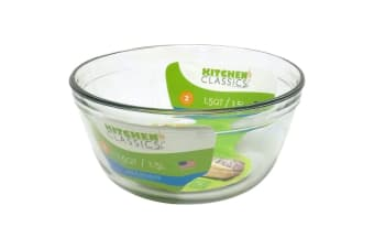 Kitchen Classics 1.5L Glass Mixing Bowl Measuring Tool Standard Size